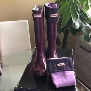 Hunter original gloss tall boots & Hunter socks